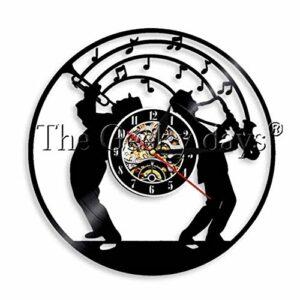 GenericBrands Horloge Vinyle Saxophone (2) Rétro Record Musique Cadeau pour Les Favoris 12pouce(Pas de lumières)