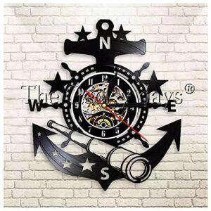 GenericBrands Horloge Vinyle Volant Nautique Rétro Record Musique Cadeau pour Les Favoris 12pouce(Pas de lumières)