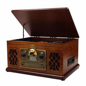 HTYQ Tourne-Disque Vinyle avec Lecteur MP3 Bluetooth/SD/CD/Radio/téléphone Portable, 3 Vitesses 33/45/78, encodage AUX/USB/RCA/Casque
