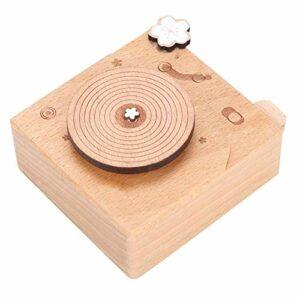 Lantro JS Artisanat de boîte à Musique, boîte à Musique en Forme de phonographe, Finition de Surface polie pour la Maison de Chambre à Coucher(Flower)