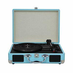 Lasamot Platine Vinyle avec Haut-parleurs Vintage BT Phonograph Tourne-Disque Stéréo Son Bleu EU-Type