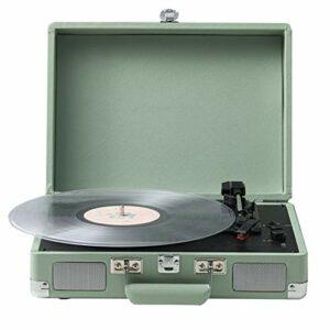 Platine Vinyle De Valise Portable avec Haut-Parleur Stéréo, 3 Vitesses Lecteur Vinyles Tourne Disque Vinyle, Support 7/10/12 Pouces Enregistrement, Sortie Audio RCA, Interface d'alimentation 12V