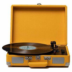 Tourne Disque, Valise Platine Vinyle avec Bluetooth Multifonctions Bluetooth, Sortie RCA, Sortie Audio Aux in, 3.5mm, for La Décoration De Divertissement Et À La Maison (Color : Yellow)