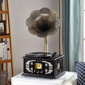 Warm Home Platines rétro vintage avec phonographe et caisson de basses – Noir – 38 x 30 x 74 cm
