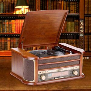ZhenHe Rétro Vinyle Bois Gramophone Machine Multifonction Lecture Carte SD USB Vieux Lecteur Radio Antique Radio Cadeau Ornements 510X350X210mm délicat Belle