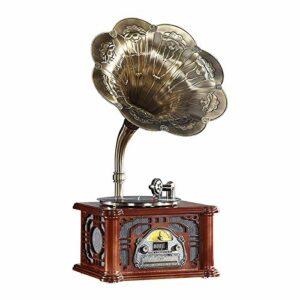 yaunli Phonographe Phonographe Chinois Retro Vinyl Enregistreur Joueur De Salon À L'ancienne Joueur De Record Classique Stéréo Gramophone Vintage (Couleur : Marron, Size : 45x34x92cm)