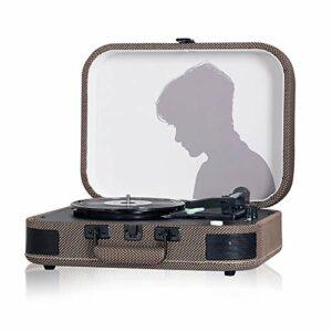 yaunli Phonographe Vinyl Player Phonographe Bluetooth Stéréo Phonographe Classical Vinyl Enregistrer Gramophone Vintage (Couleur : Khaki, Size : 35.3×25.7x11cm)