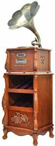 TYX-SS Platine Vinyle Tourne-Disque Corne Gramophone Gramophone Gramophone en Bois de Style Antique