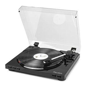 Audizio RP310 Platine Vinyle Haut de Gamme – Noir, Tourne Disque avec Fonction Retour Automatique, Deux Vitesses pour 33 et 45 Tours, Fonction d'enregistrement mp3 Via USB, Sortie RCA