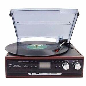 LDGS&TTW Turntable sans Fil Hi-FI Haut-parleurs, Lecteur de Vinyle, Cartouche magnétique Cartouche magnétique, Plateau tournante Bluetooth Supérieur (Color : Brown)
