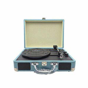 MGWA Ornements Gramophone Enregistreur Stéréo Portable Bluetooth Haut-parleur Stéréo phonographe Bluetooth Bleu 35 x 25,5 x 13 cm