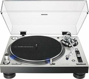 Audio Technica AT-LP140XP-SV Direct-Drive Professional Fully Manual DJ Turntable 33/45/78 RPM Speeds Includes Dust Cover and at-XP3 DJ Cartridge (Silver)