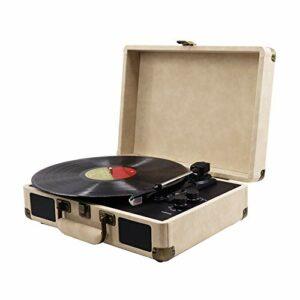 CuteLife Platine Vinyle Phonographe Rétro Enregistrement De Vinyle Enregistrement Électro-mécanique Player Suitcase Suitcase Player pour Les Amateurs de Vinyle (Couleur : Khaki, Size : 35X22.5X13CM)