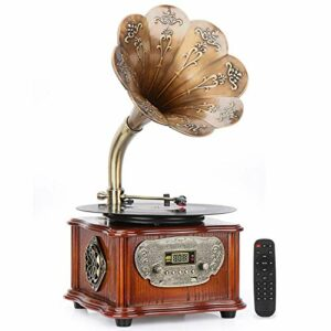 Tourne-disque audio vintage avec haut-parleurs sans fil 3,5 mm Aux-in/FM Radio/USB Grammage en bois avec klaxon en cuivre pour bureau/maison Décoration