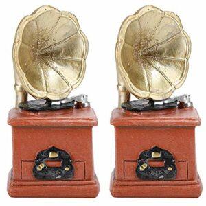 Yeelur Cadeau de phonographe, Artisanat en résine, décoration de phonographe à Corne de Style rétro de Bureau, 2 pièces Petit pour la Maison Mini Ornement Accessoires de phonographe de Bureau