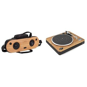 House of Marley Bag of Riddim 2 – Enceinte Bluetooth | Haut Parleur Portable HD en Bambou avec Sac de Transport en Tissu Rewind & Stir It Up Wireless Platine Vinyle sans Fil – Tourne-Disque Bluetooth