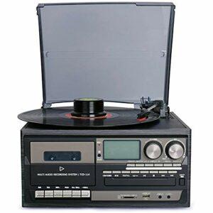 LIUHONGSU Vinyle phonographe Machine Moderne Multifonction Bande Lecteur CD Radio Bluetooth USB Haut-Parleur intégré (Color : Noir)