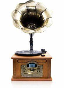 Lauson Rétro Bluetooth Gramophone avec Fonction d'encodage, Vintage Wood Trumpet Turntable avec Haut-parleurs intégrés, Radio, CD, USB, MP3, 3 Vitesses (33/45/78 RPM), CL747