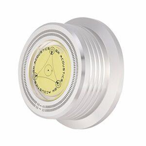 Mxzzand Stabilisateur de Disque, stabilisateur d'enregistrement de Disque à Faible Bruit en Alliage d'aluminium Niveau à Bulle de Haute précision pour Un diamètre de Broche jusqu'à 7 mm(Argent)