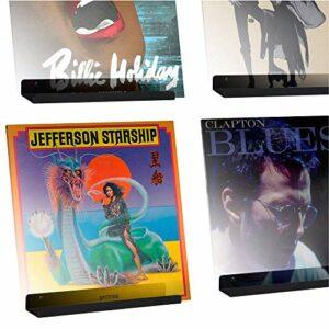 Hudson Hi-Fi LP Vinyl Record Wall Display (Black Satin, 4 Pack)