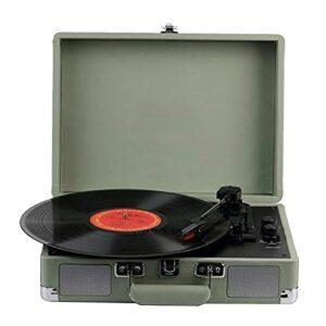 Tourne-disque en vinyle avec haut-parleurs stéréo intégrés Disques vinyles portables Phonographe rétro vintage Supports d'entraînement par courroie à 3 vitesses, Lecture de musique USB/MP3, Vert