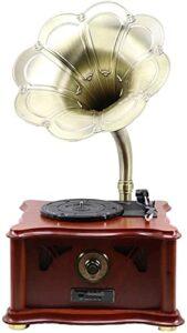 XXSHN Tourne-Disque, Gramophone, phonographe Tourne-Disque rétro phonographe Trompette Ancien Vinyle Tourne-Disque européen Bois Massif (phonographe)
