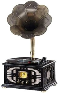 XXSHN Tourne-Disque, Vintage Retro Classic Gramophone Tourne-Disque Vinyle Phonographe Forme Stéréo Haut-Parleur Sound System Boîte à Musique w (Phonographe)