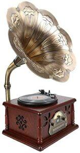 XXSHN Tourne-disques, phonographe rétro en Bois Massif Antique en Bois Massif, Cadeau de Lecteur CD Bluetooth Multifonction (phonographe Vintage)
