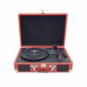 ZHHk Vinyl Record Player,Retro Gramophone,Creative Rétro Haut-Parleur Bluetooth,Enregistrement Valise Rouge Player (350 * 255 * 130MM) Ornements