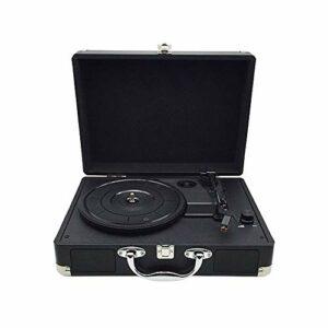 ZHHk Vinyl Record Player,Rétro Gramophone,Haut-Parleur Bluetooth Creative Retro,Noir Valise Phonographes(350 * 255 * 130MM) Ornements