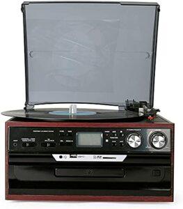 ZXYDD Ornements Disque vinyle multifonction Noir Modèle moderne européen Radio CDFM Carte SD Son rétro Gramophone