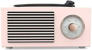 ZXYDD Ornements Mini haut-parleur Bluetooth en vinyle phonographe Home Mini carte stéréo rétro Rose Vert Blanc (couleur : rose)